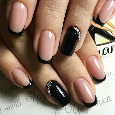Black Nail, Nail, Manicure, Design, Art, Rhinestones