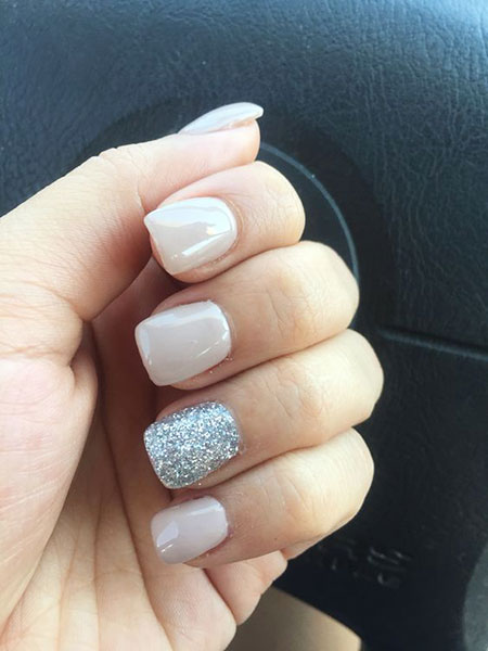 Simple Nail, Nail, Simple, White, Wedding, Silver