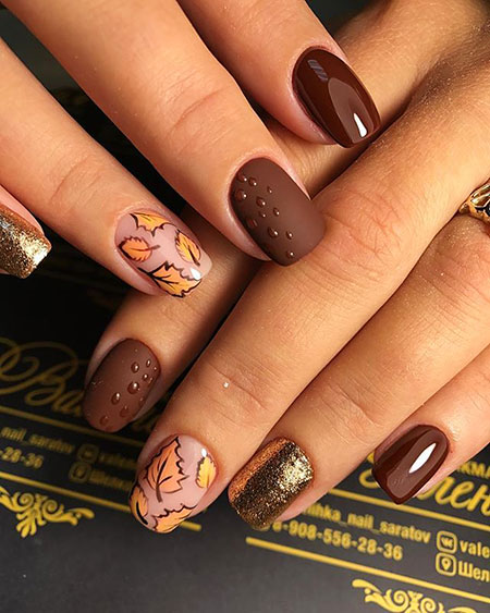 Fall Leaves Nail Art, Nail, Manicure, Design, Fall, Art