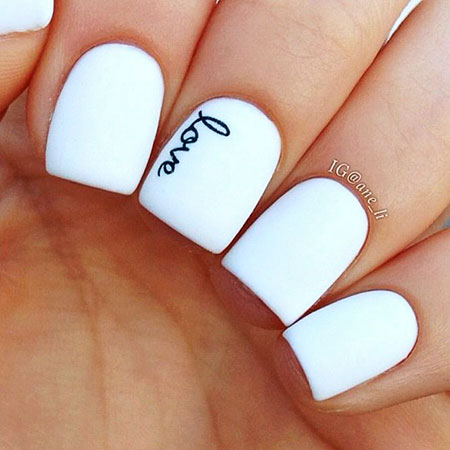 White Nail, Nail, White, Art, Wedding, Valentines, Simple, Short