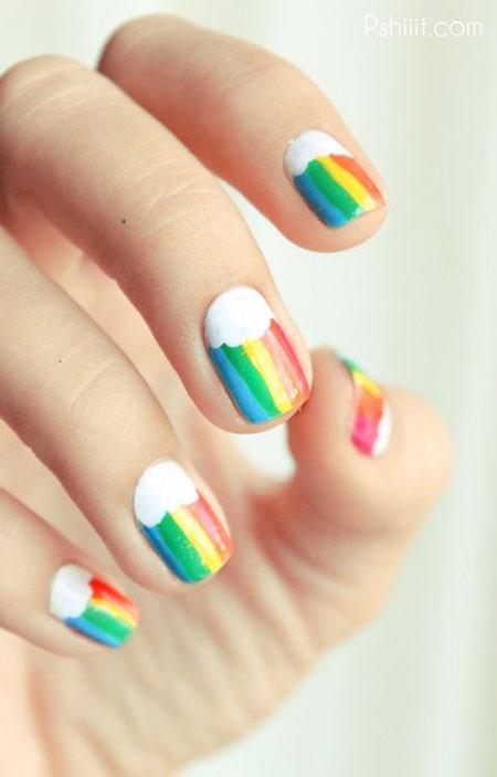Rainbow Nail Art Over Funny Easy Design