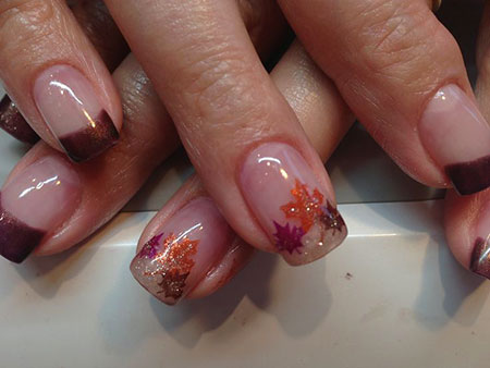 Fall Leaves Gel Nail Design French
