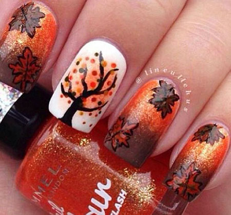 Tree Nail, Nail, Fall, Halloween, Art, Tree, Design, Autumn