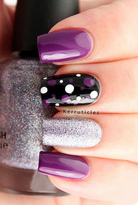 Purple And Black, Nail, Short, Purple, Design, Art
