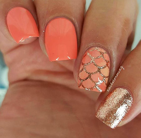 Orange And Gold, Nail, Summer, Orange, Art, Spring, Short