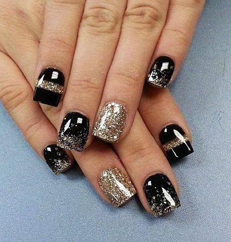 Black And Silver, Nail, Silver, Gold, Years, Winter, Season