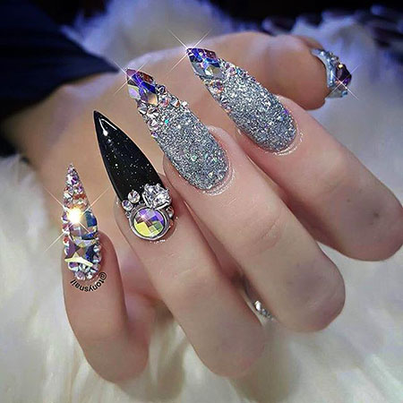 16 Nail Art Ideas With Rhinestones 2017113096