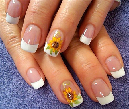 Sunflower Nail, Nail, Sunflower, Art, French, Flower