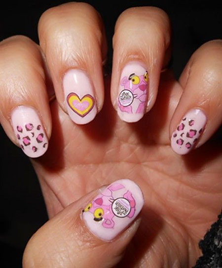 Pink Panther, Nail, Easter, Art, White, Water, Simple