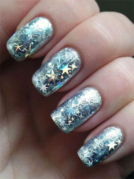 Galaxy Nail, Nail, Winter, Art, Star, Glitter, Girls, Galaxy