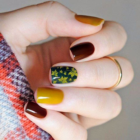 Dark Nail, Nail, Manicure, Green, Autumn, Art, Yellow