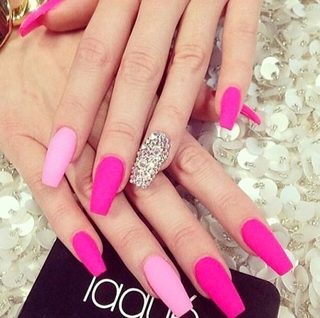 hot nail nail pink simple rhinestones hot design - Hot Designs Nail Art Ideas