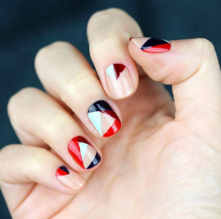 Color Blocking, Nail, Art, 207, Moon, Manicure, Half, Design