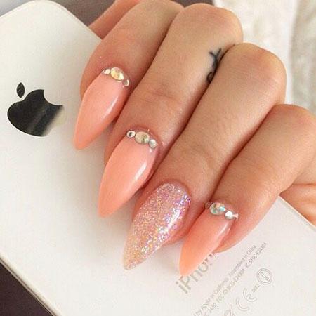 Prom Nail, Nail, Rhinestones, Prom, Peach, Heart