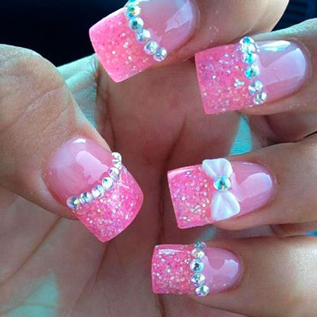 20 best nail art ideas with rhinestones nail art designs 2017 nails designs with bows nail pink bows art simple prinsesfo Image collections