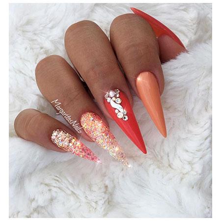 Glitter Nail, Nail, Stiletto, Glitter, Summer, Ombre, Design