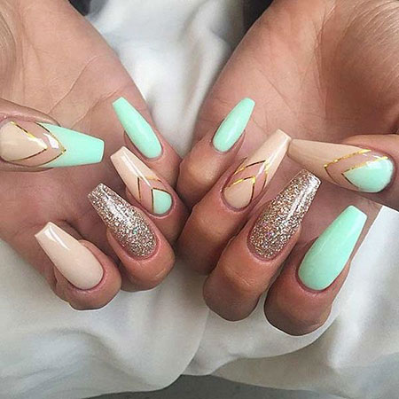 Summer Nail, Nail, Coffin, Summer, Nude, Manicure, Gold
