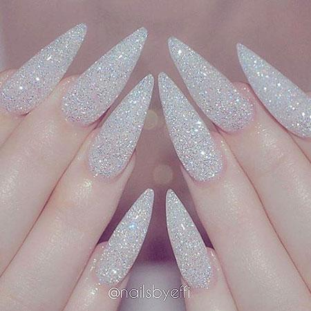 White Glitter Nail, Nail, Stiletto, Glitter, White