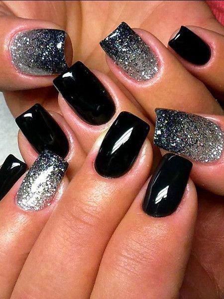 Black And Silver, Nail, Silver, Pretty, Polish