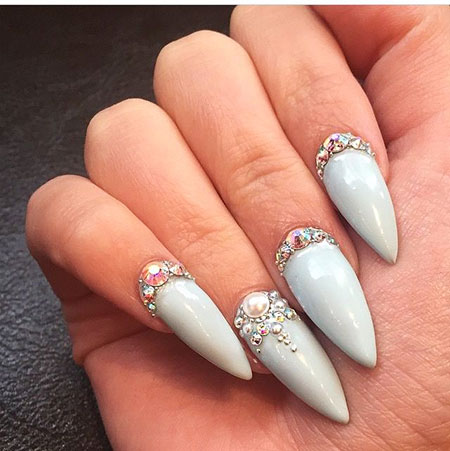 Gel Nails with Stones, Nail, Stiletto, Art, Sexy, Gel, Design