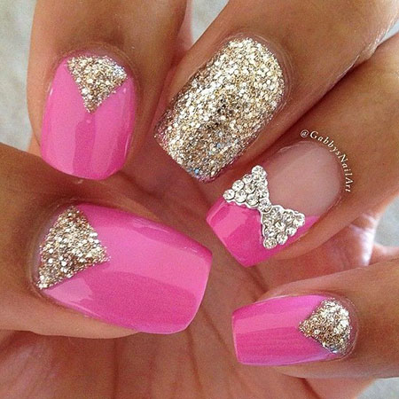 Pink And Gold, Nail, Pink, Glitter, Pretty, Long, Gold