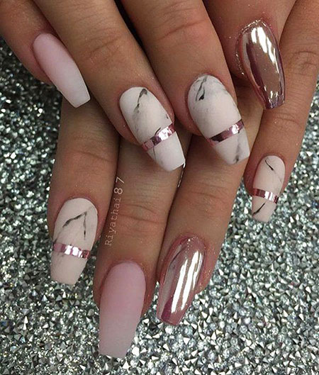 Rose Gold Nail Matte Marble Manicure Chrome Art