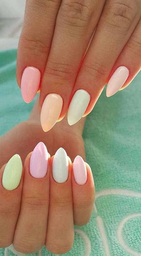 Cute Nail Colors, Nail, Pastel, Summer, Stiletto, Pink, Girl, Gel