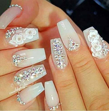 20 best nail art ideas with rhinestones nail art designs 2017 wedding nail nail art wedding rhinestones design prinsesfo Images