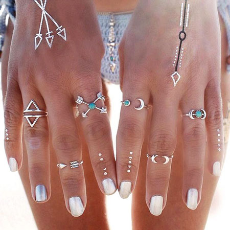 Boho Nail, Ring, Boho, Set, Midi, Silver, Rings
