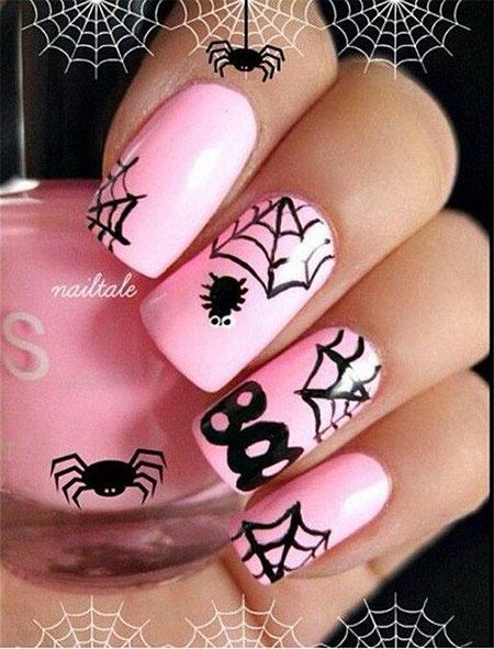 Halloween Nail, Nail, Halloween, Art, Pink, Design