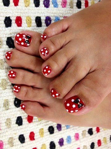 Toe Nail, Nail, Minnie, Disney, Toe, Polka, Mouse, Dot, Simple