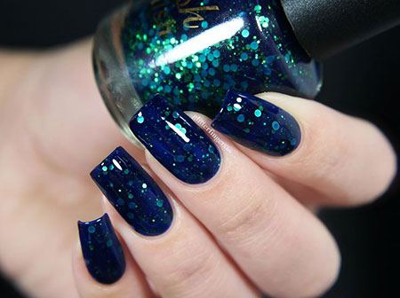Navy Glitter Nails, Polish, Nail, Glitter, Swatch, Navy