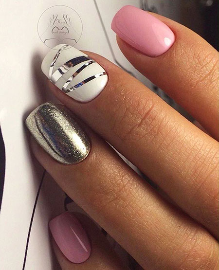 Grey And Pink, Nail, Shellac, Manicure, Design, 207, Pink