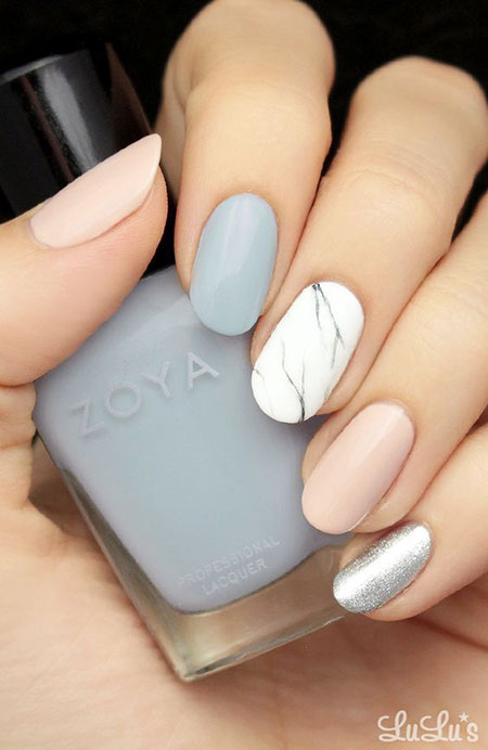 Grey And White, Nail, Marble, Design, Art, White, Tutorials