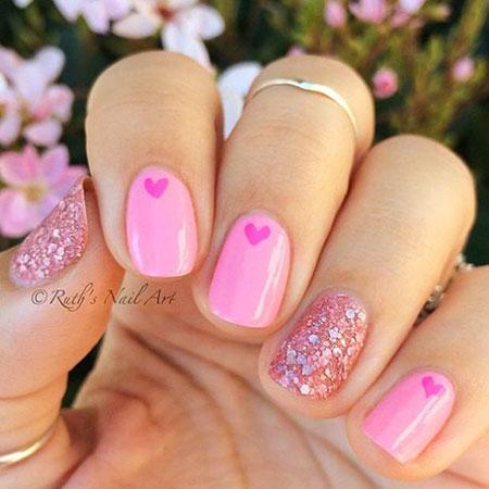 Pink Nail, Nail, Pink, Valentines, Day, Art, Valentine, Polish