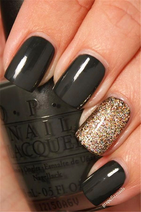Black Nail, Nail, Fall, Gold, 207, Years, Polish, Opi