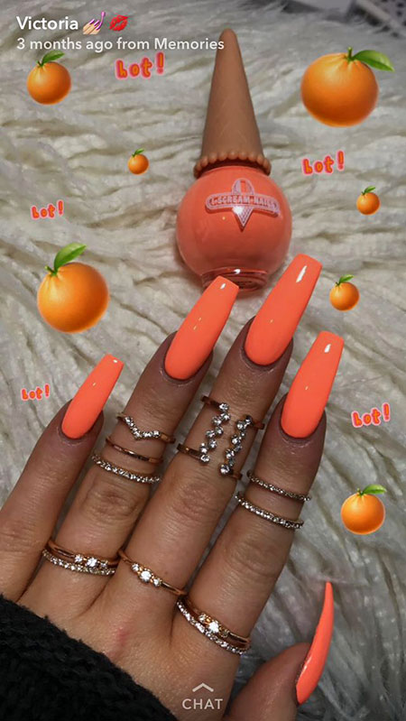 Orange Nail, Orange, Nail, Polish, Opi, Neon, Long, Coral