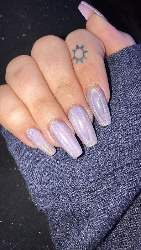 Chrome Nail, Nail, Art, Acrylic, 207, Silver, Holl, Glitter