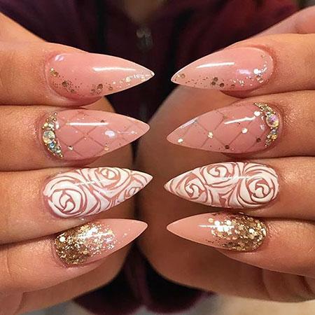 Acrylic Nail, Nail, Stiletto, Rose, Getbuffednails, Design, Art, Acrylic