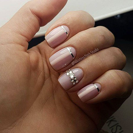 Beige Nail, Nail, Manicure, Glitter, French, Beige, Wedding