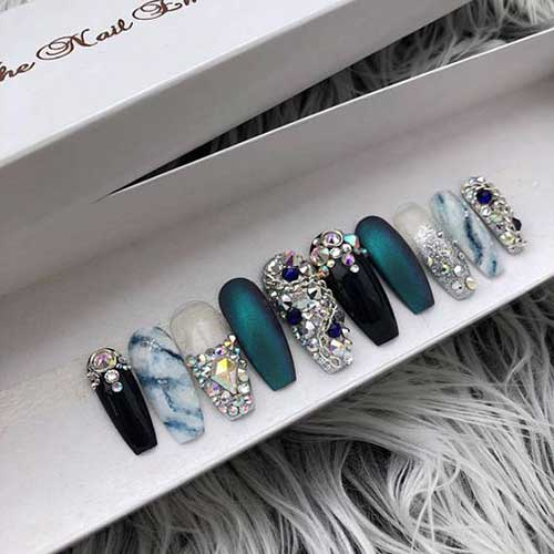 Long Coffin Shape Nail Arts-17