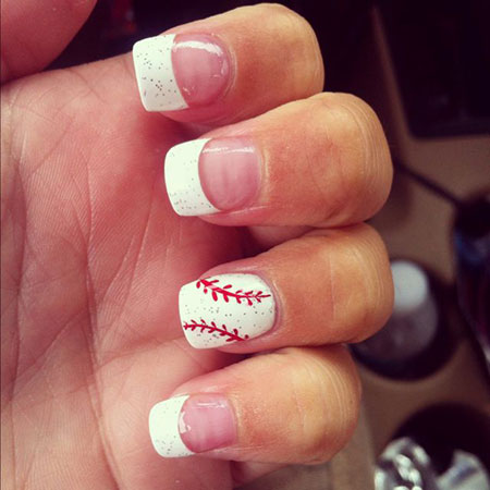 Baseball Nail Art Design, Jamberry Best Softball Baseball