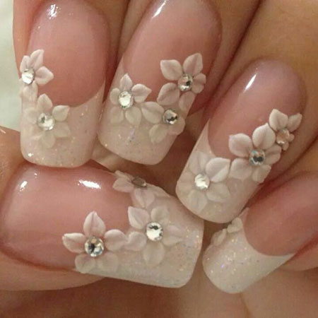Bridal Nail Design, Gel Wedding Bridal French