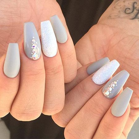 Classy Nail Design, Grey Glitter White Acrylic