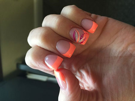 French Tip Design, French Coral Pedicure Summer