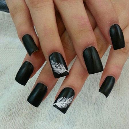 Black Matte White Manicure