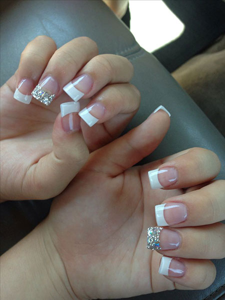 French Acrylic Manicure Silver
