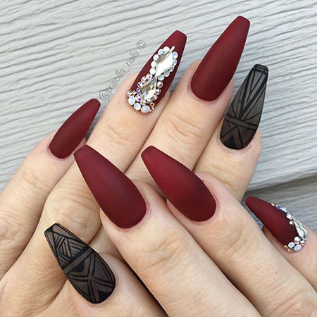 16-Coffin-Nails-Dark-Red-138 - 16-Coffin-Nails-Dark-Red-138 - Nail Art Designs 2017