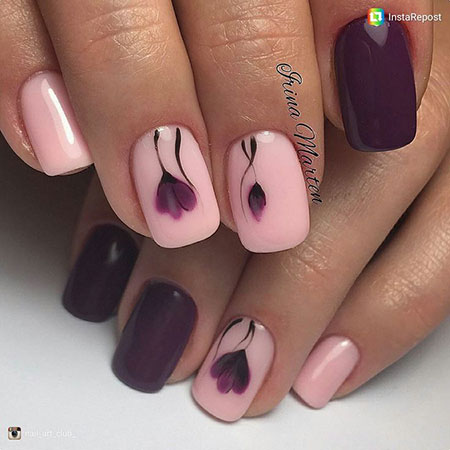 Rose Purple Manicure Leaf