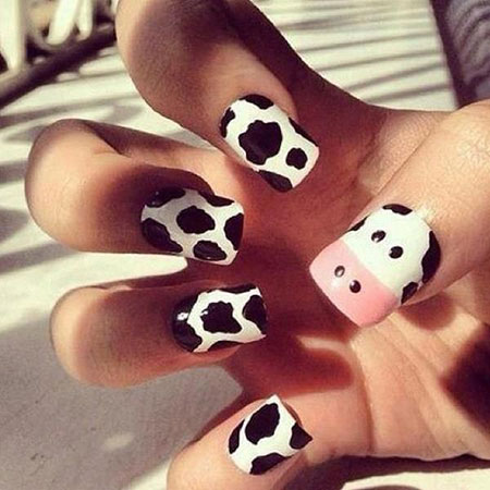 Cute Cow Nail Design, Cow Cute Panda Moo